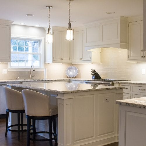 Dean cabinetry custom white beaded inset kitchen island
