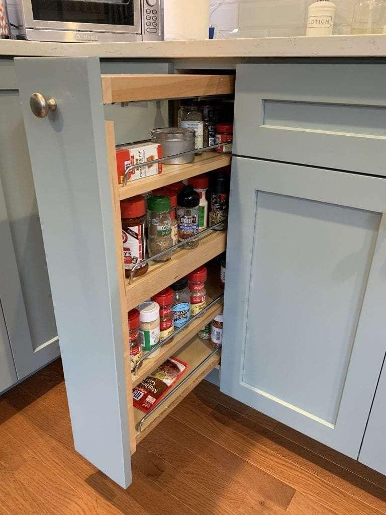 Dean Cabinetry Eudora Semi Custom Haze Full Access Full Overlay Kitchen Pull Out Spice Rack