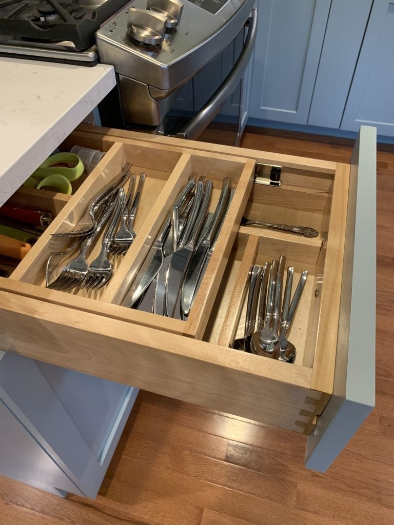 Dean Cabinetry Eudora Semi Custom Haze Full Access Full Overlay Kitchen Silverware Insert Rev A Shelf