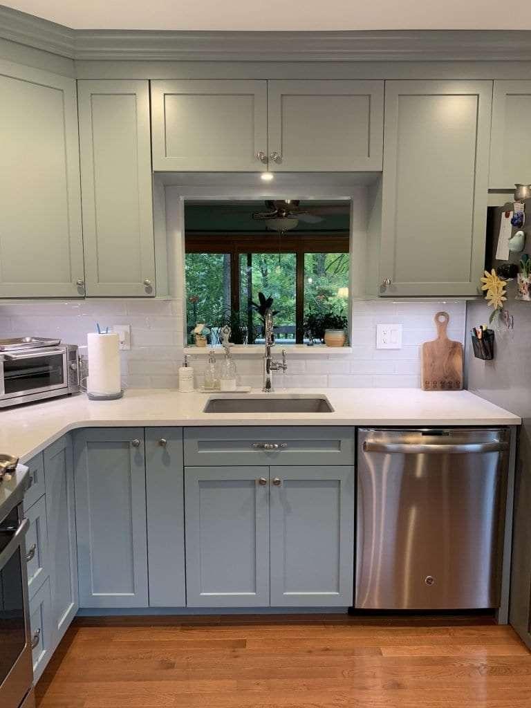 Dean Cabinetry Eudora Semi Custom Haze Full Access Full Overlay Kitchen Sink