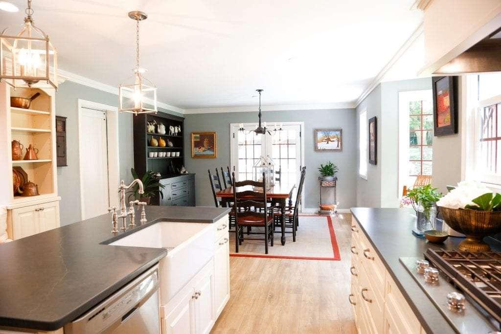 Dean Cabinetry Eudora Semi Custom Oxford II Full Access Full Overlay Kitchen Dining Area