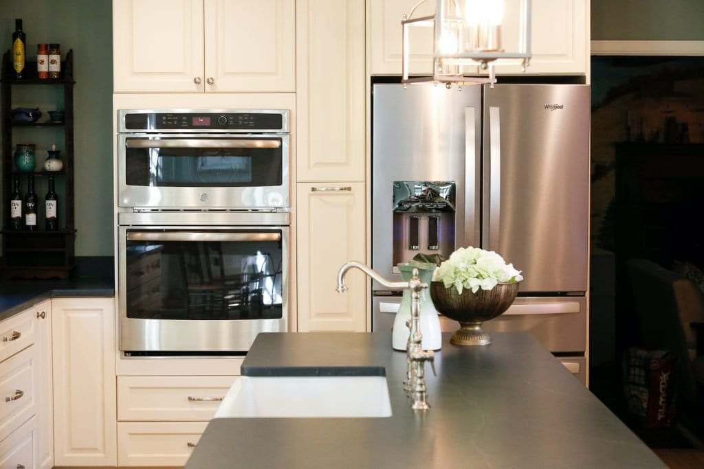 Dean Cabinetry Eudora Semi Custom Oxford II Full Access Full Overlay Kitchen Refridgerator Oven Microwave
