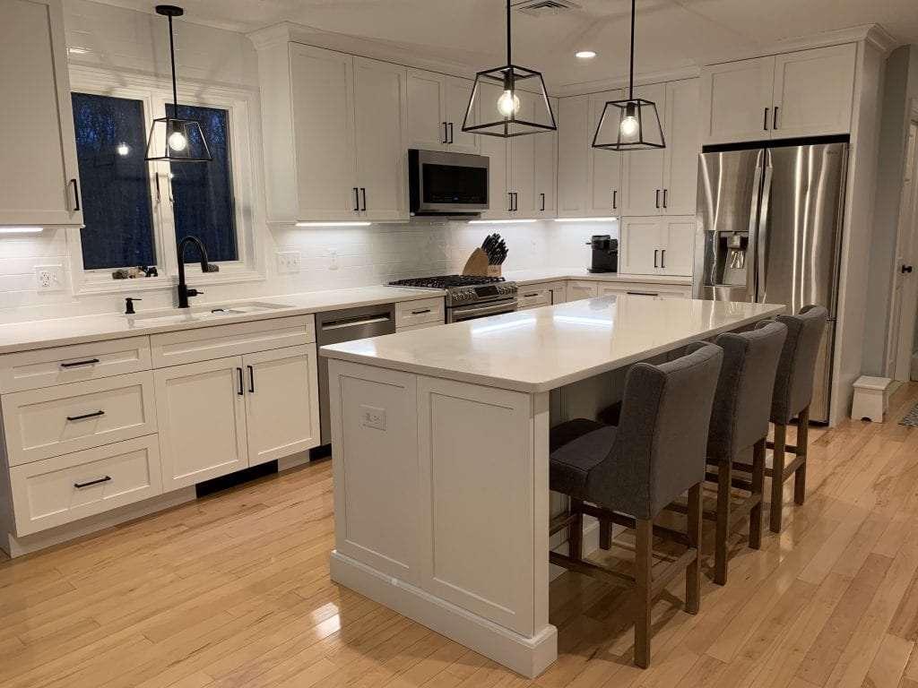 Eudora Semi Custom White Full Access Full Overlay Kitchen Island