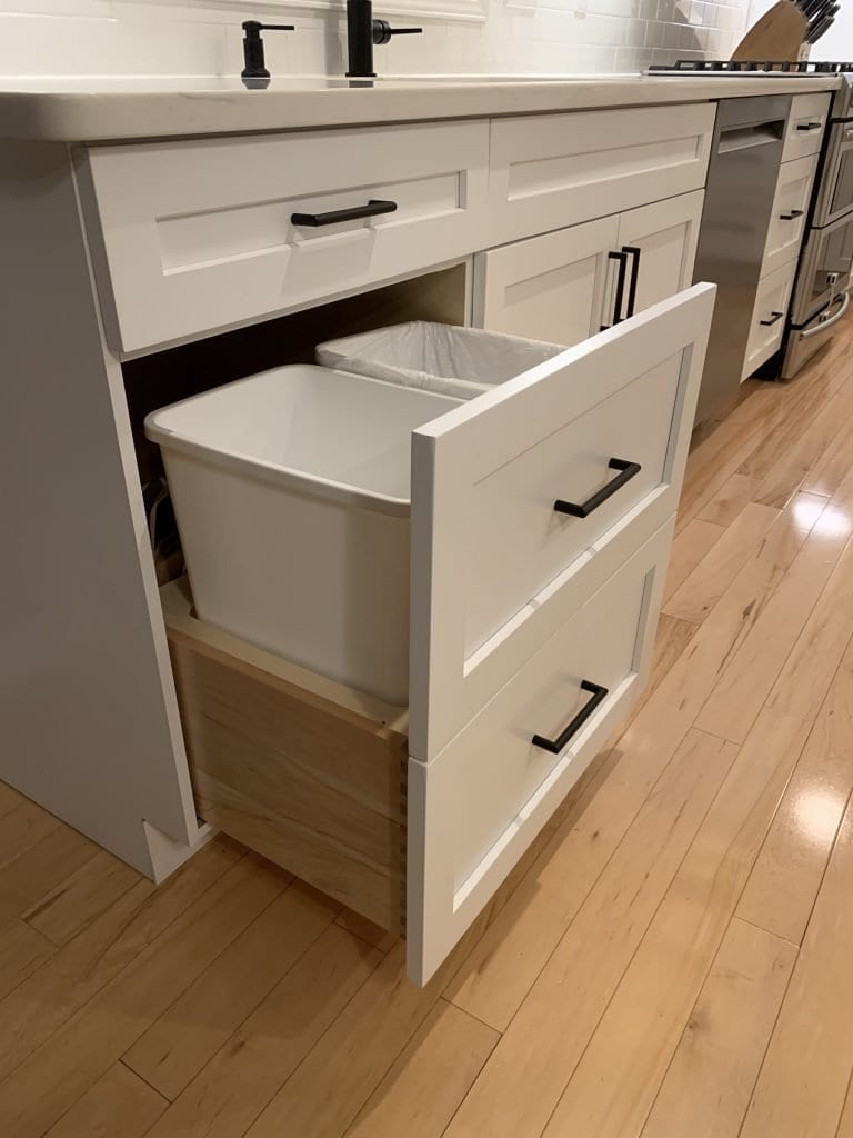 Eudora Semi Custom White Full Access Full Overlay Kitchen Trash Pullout