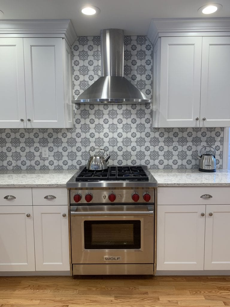Eudora Semi Custom White Full Access Full Overlay Kitchen Wolf Gas Range