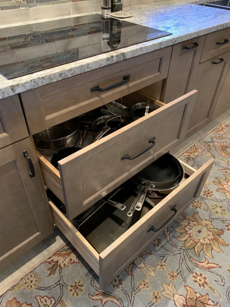 Dean Cabinetry Eudora Semi Custom Wood Stain Full Access Full Overlay Kitchen Drawer