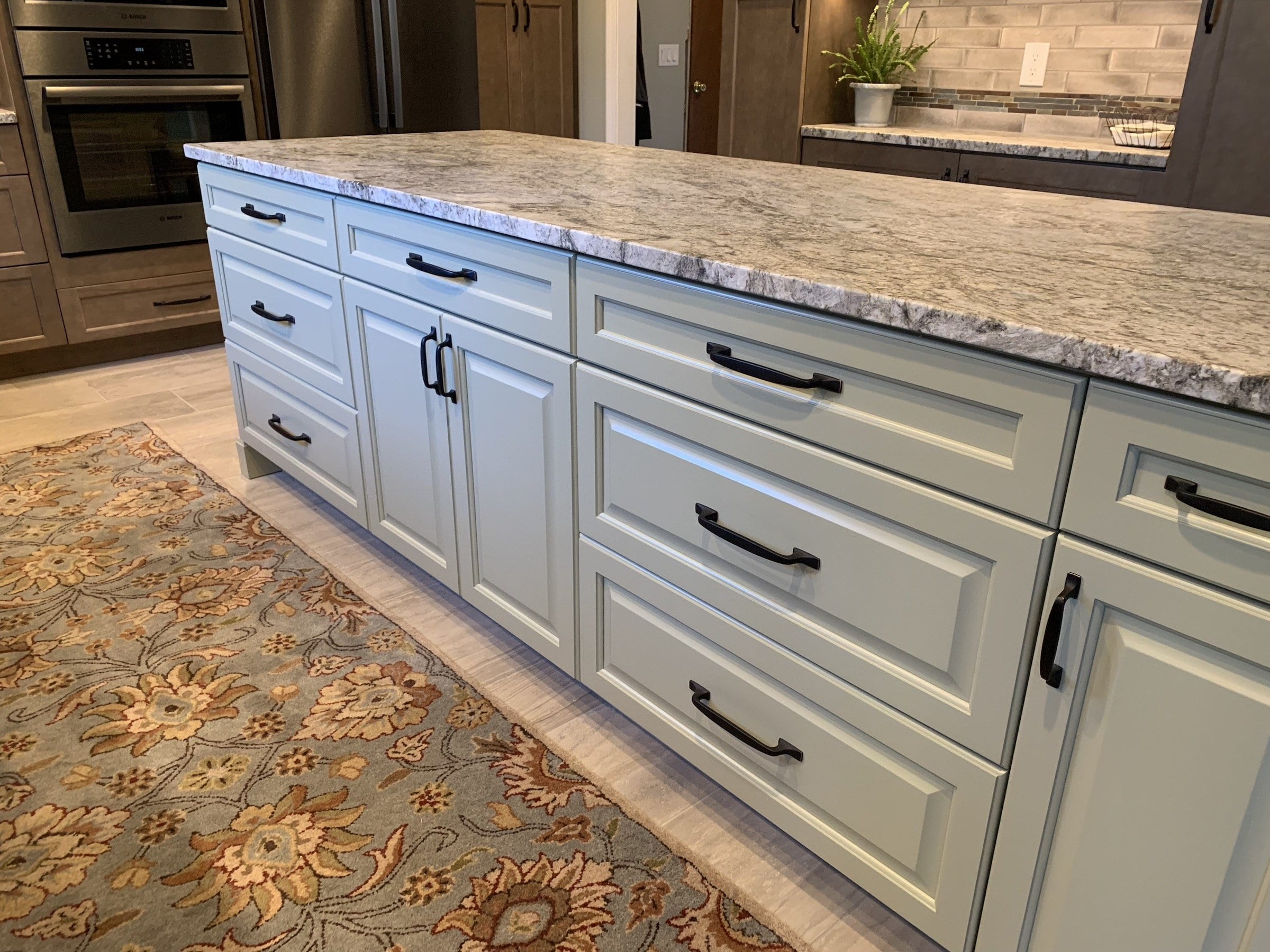 Dean Cabinetry Eudora Semi Custom Wood Stain Full Access Full Overlay Kitchen Island