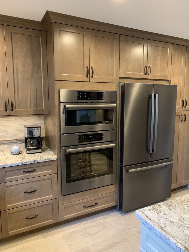 Dean Cabinetry Eudora Semi Custom Wood Stain Full Access Full Overlay Kitchen Oven Microwave Refridgerator