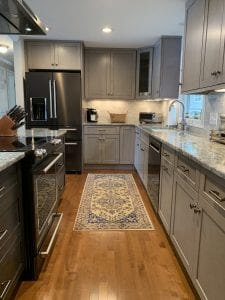 Dean Cabinetry Fabuwood Stock Galaxy Horizon Framed Full Overlay Kitchen Galley View