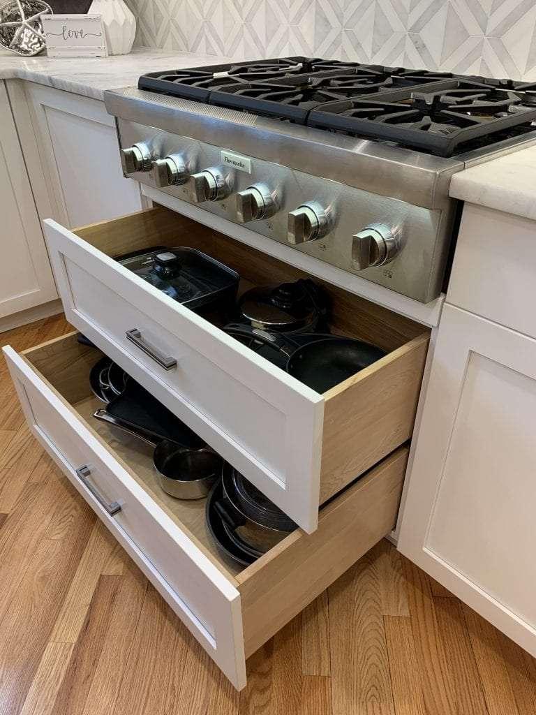 Dean Cabinetry John Dean Custom Cabinetry White Full Access Full Overlay Kitchen Drawer Storage