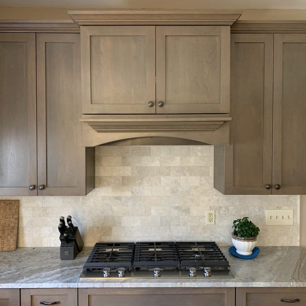 John Dean Custom Cabinetry Wood Stain Full Access Full Overlay Kitchen Hood