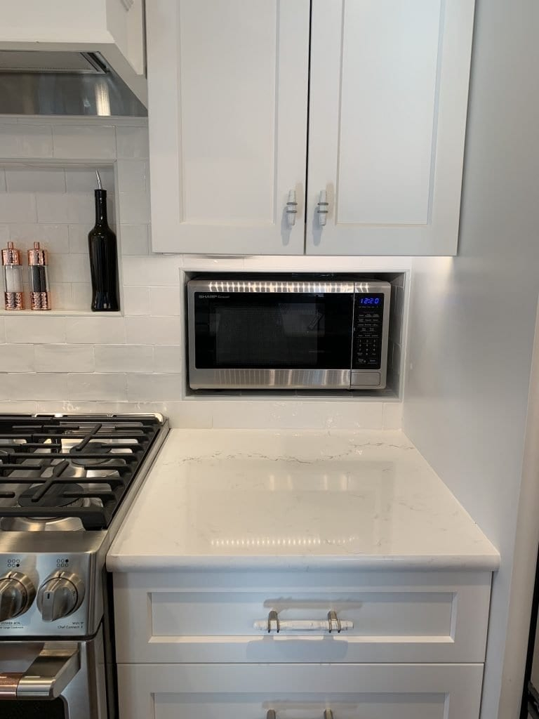 Dean Cabinetry John Dean Custom Cabinetry White Full Access Full Overlay Kitchen Microwave